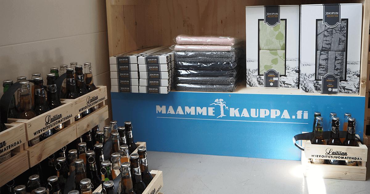 Maammekaupan myyntihylly Laitilan Wirvoitusjuomatehtaan tehtaanmyymälässä
